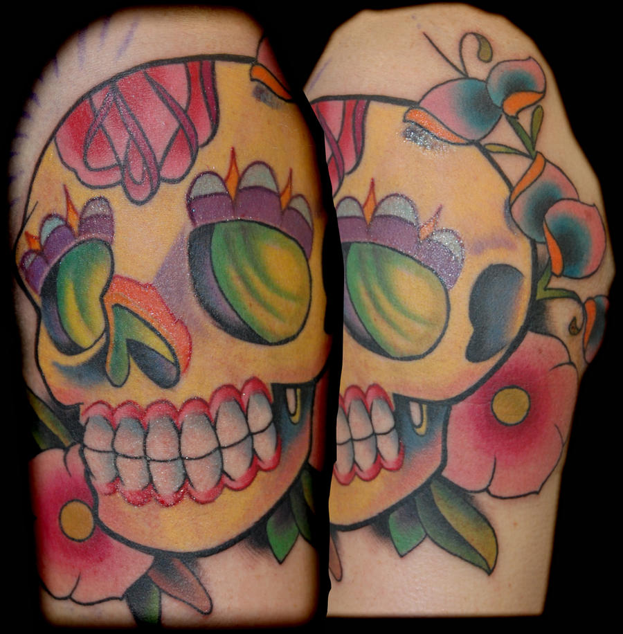 yellow sugar skull tattoo by