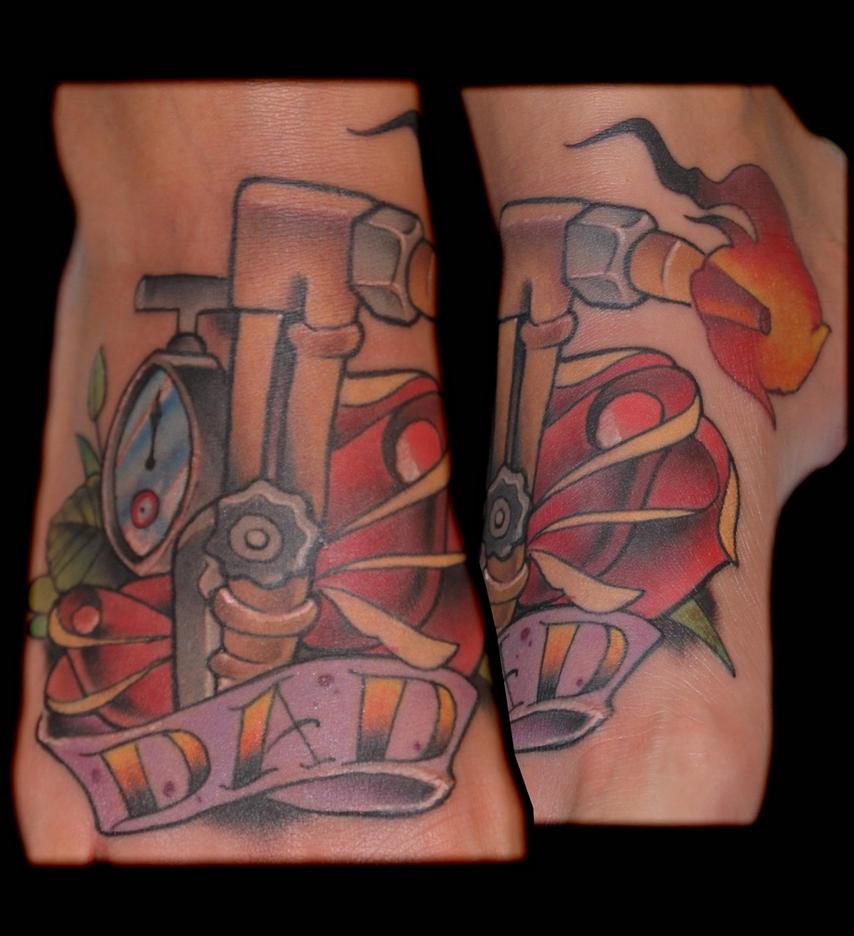 cutting torch dad tattoo by exilink