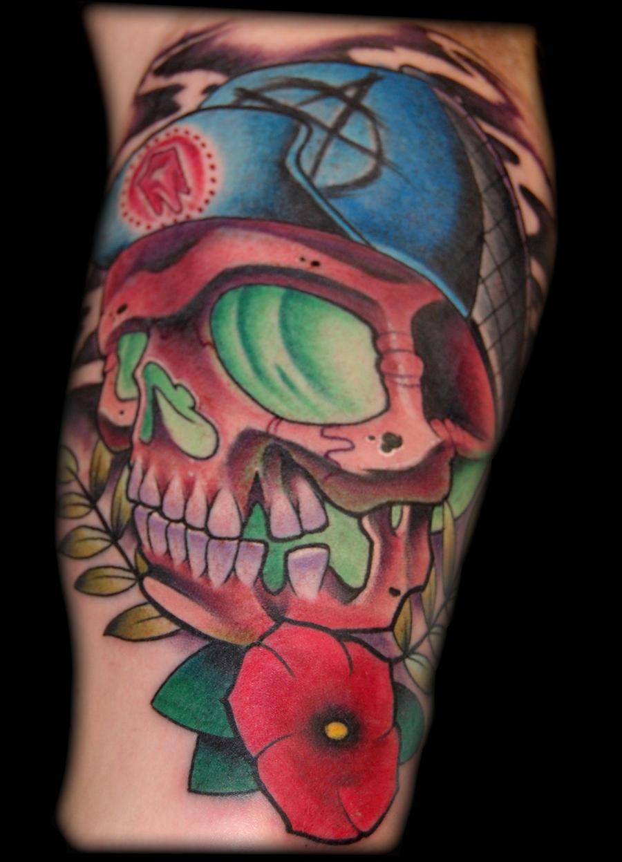 skater skull tattoo by...