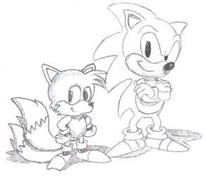 Sonic 2 box art pose sketch by PrinceOfPwn
