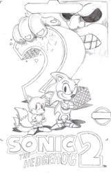 Sonic 2 box art sketch by PrinceOfPwn