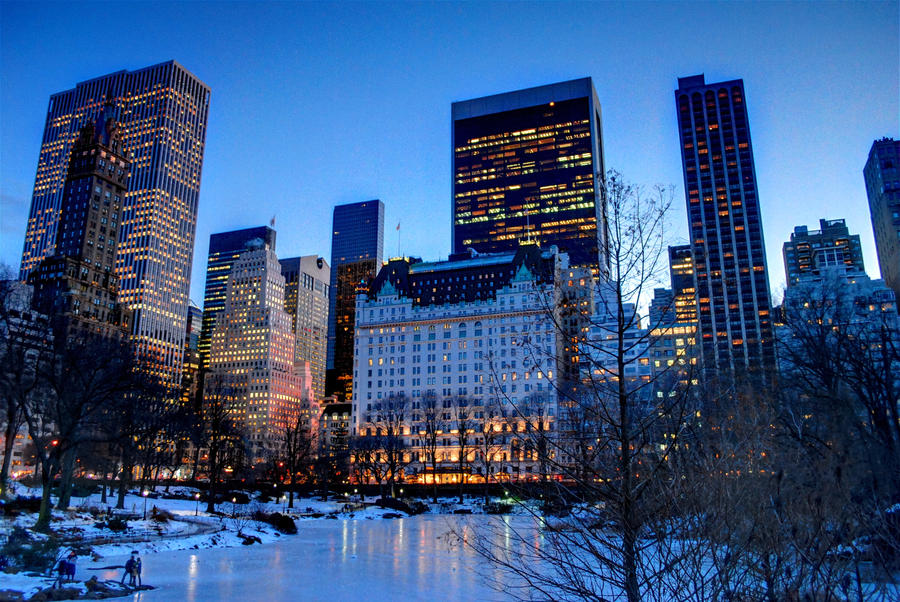 Central Park Pond and Skyline by MJKam11