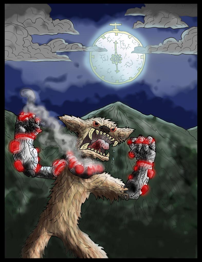 steampunk werewolf print by kangarookid