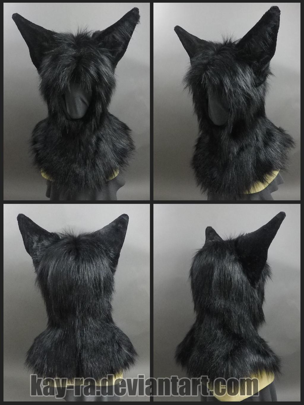 Black fox hood commission by Kay-Ra