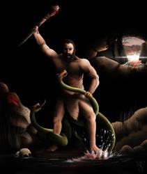 Heracles Slaying the Lernaean Hydra by SethWoll