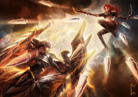 Katarina V Leona [League of Legends] by Gevurah-Studios
