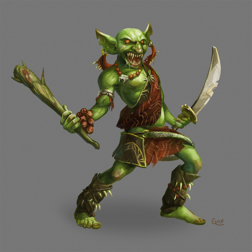 Razas no Jugables. Goblin_Barbarian_by_Nightblue_art