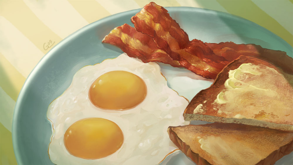 Food - Bacon and Eggs by Nightblue-art