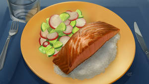 Food - Salmon with Salad by Nightblue-art