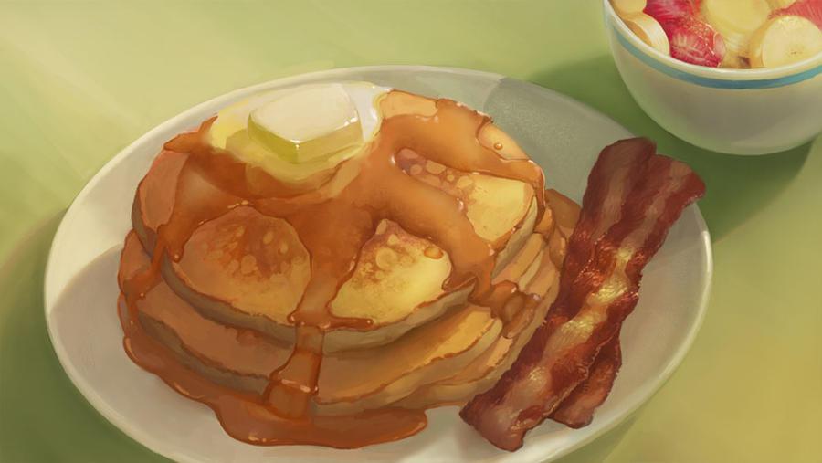 Food - Pancakes - collab by Nightblue-art