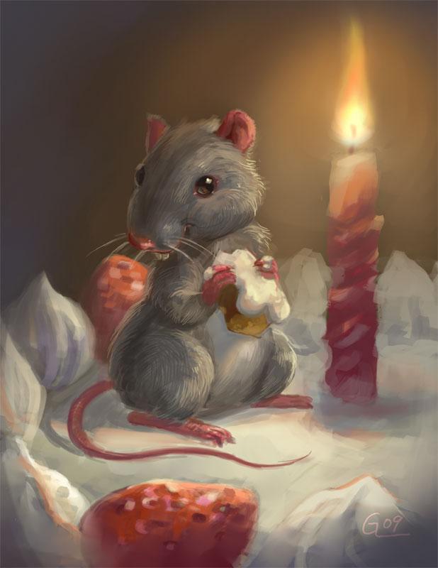 birthday mouse by Nightblue-art
