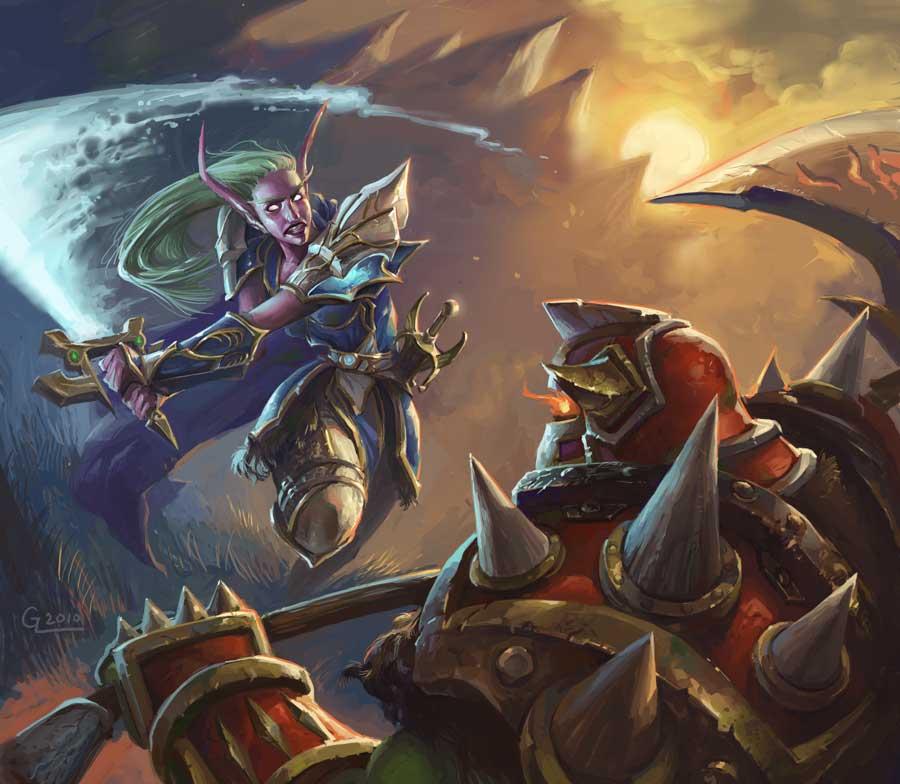 Night Elf Warrior Revisited by Nightblue-art
