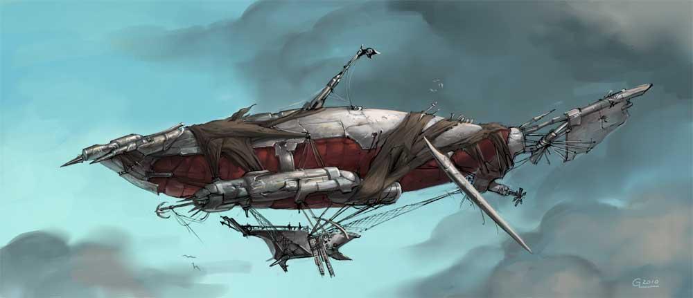 pirate dirigible by Nightblue-art