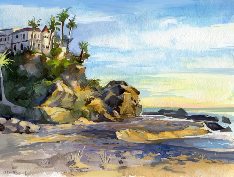 Beach sketch by Nightblue-art
