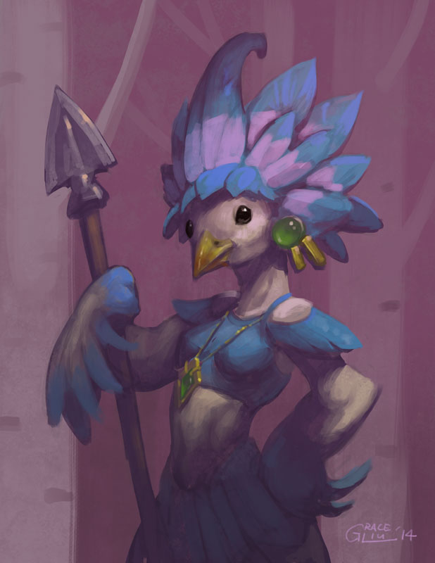 Avian Spearwoman by Nightblue-art