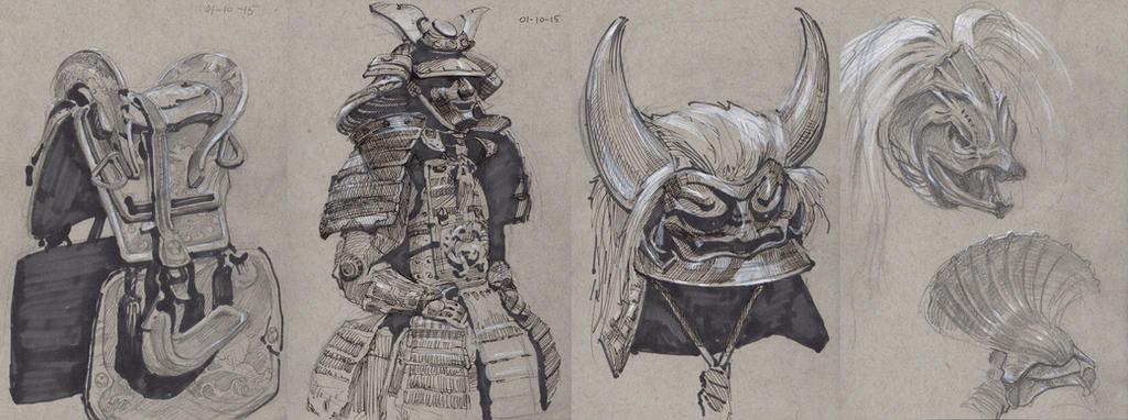 LACMA Samurai exhbition sketches by Nightblue-art