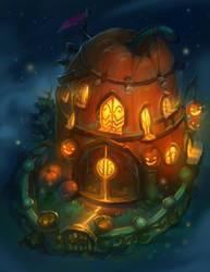 Pumpkin House by Nightblue-art
