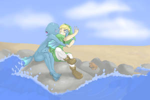Link and Ruto by blacksprinklerose
