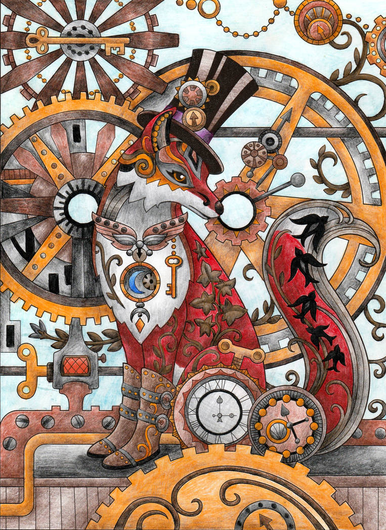 Steampunk Fox Adult Coloring Page