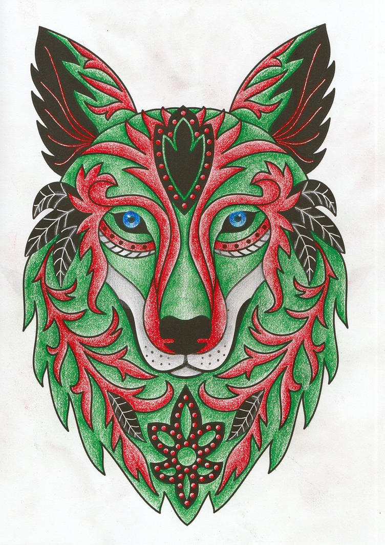 Christmas Wolf Adult Coloring Book Page by desertwind75 on DeviantArt