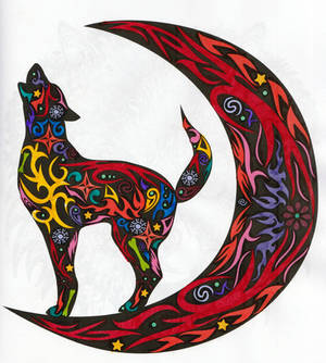 Wolf Howling on the Moon Adult Coloring Page