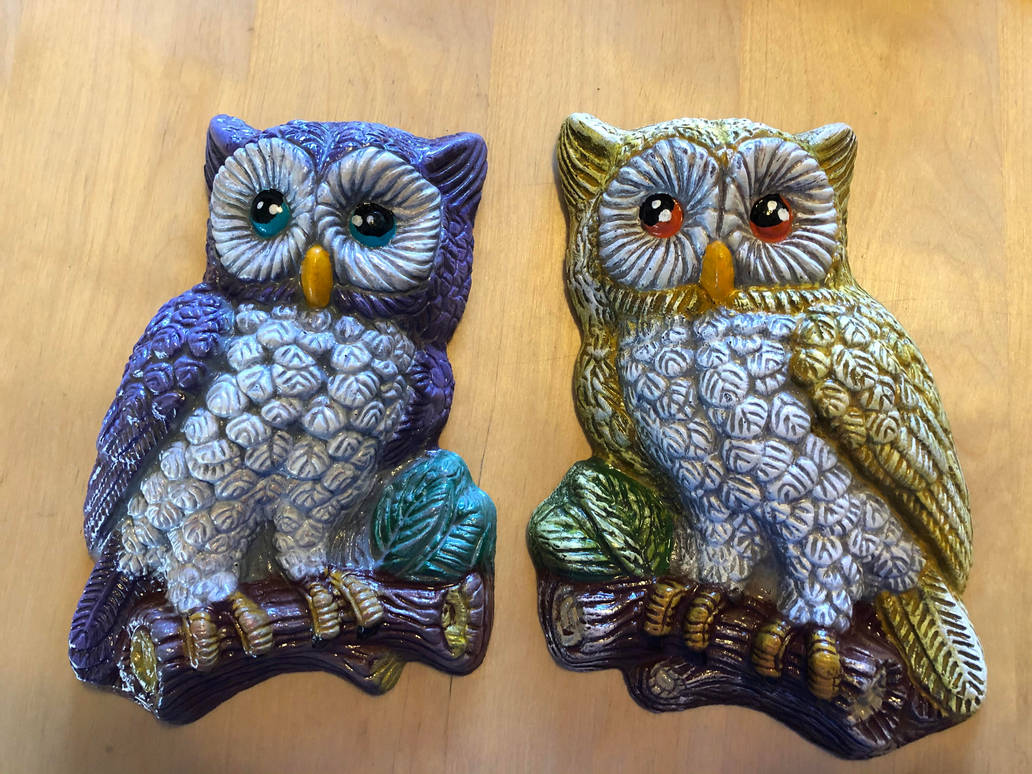 Set Of Cute Hand Painted Owl Wall Hangings