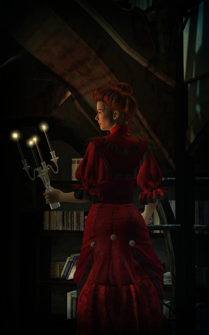 Miss Scarlet in the Library with a Candlestick by Dakorillon