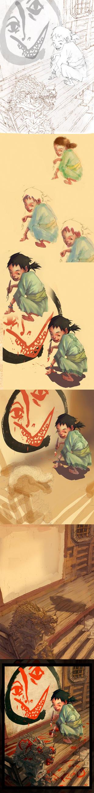 zen painting process by toniinfante