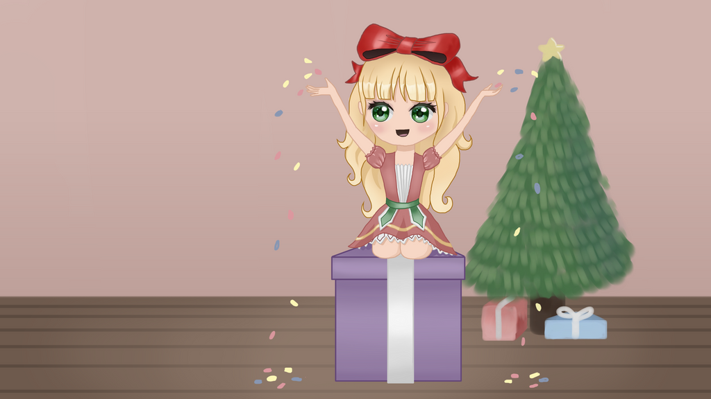 Girl On Christmas Present Wallpaper by katliente