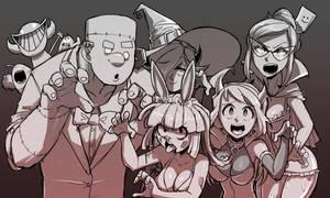 HalloweenGroupDoodle by gingrjoke