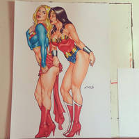 SUPERGIRL and WONDER WOMAN, done !!! by carlosbragaART80