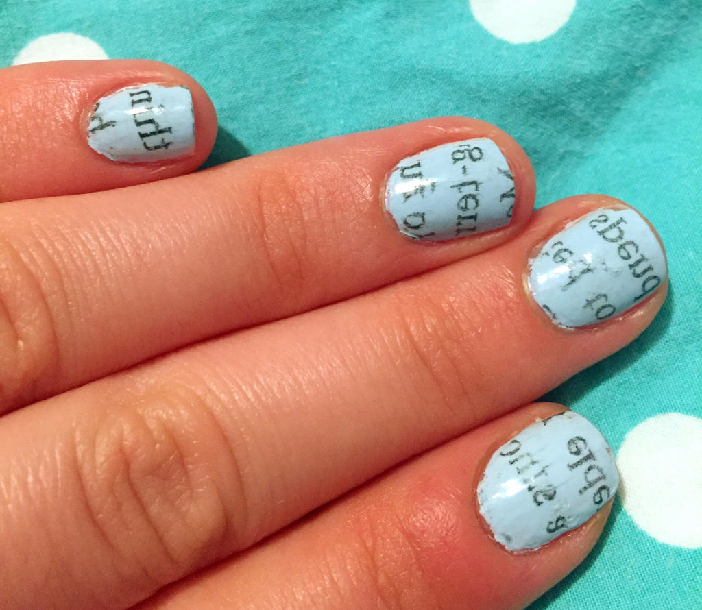 Light Blue Newspaper Nails by AnonymousRabbitLover on DeviantArt