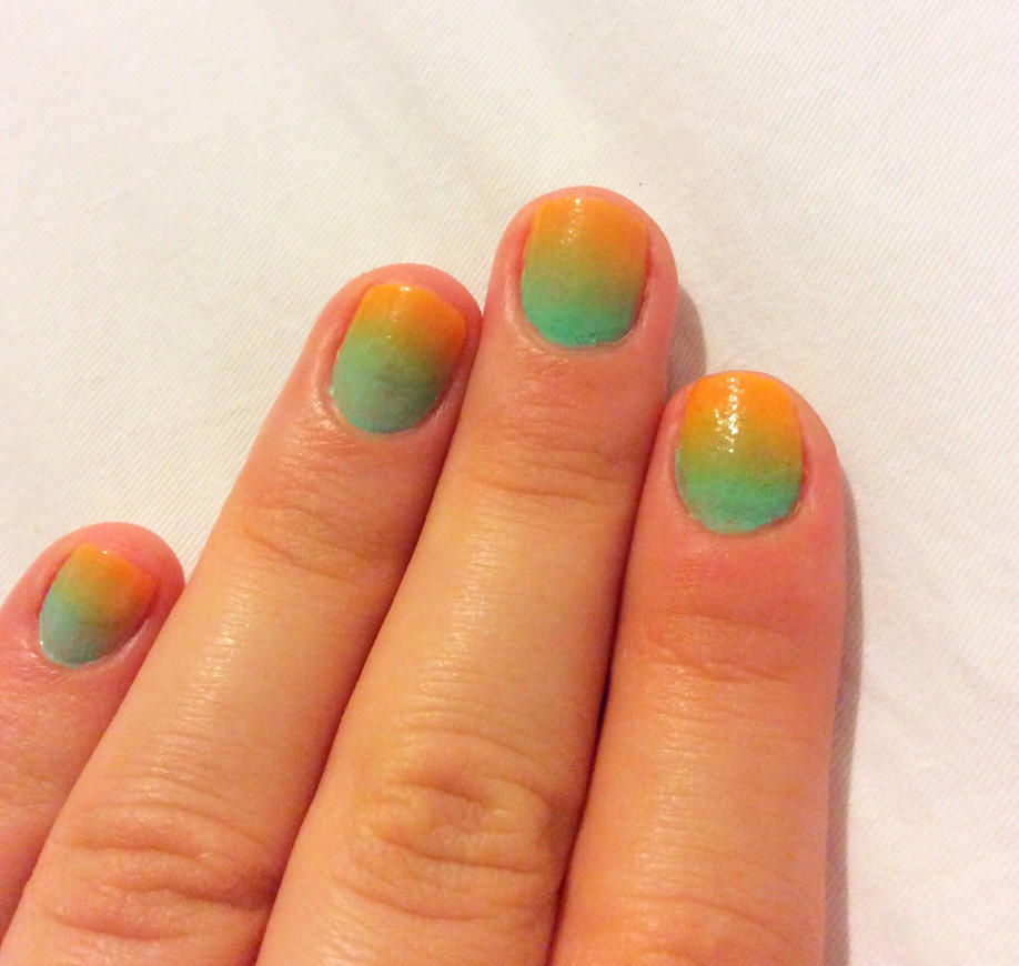 Orange and Turquoise Ombre Nails by AnonymousRabbitLover on DeviantArt