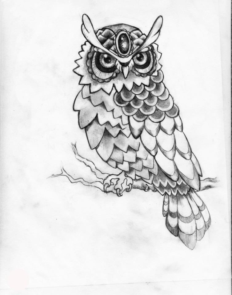 Owl Line Drawing Tattoo : Owl tattoo by kimelizondo on deviantart