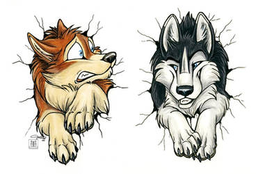 Stuck huskies - front