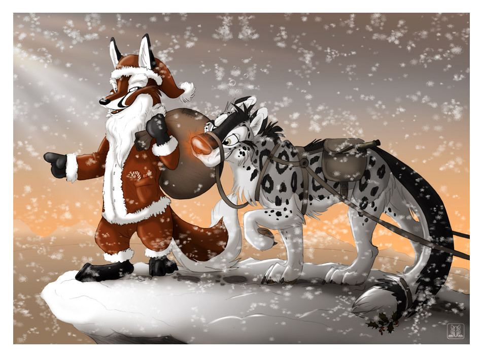 Santa Fox and RudOlf by TaniDaReal