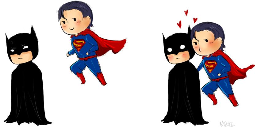 Batman + Superman chibis by Mikiku on DeviantArt