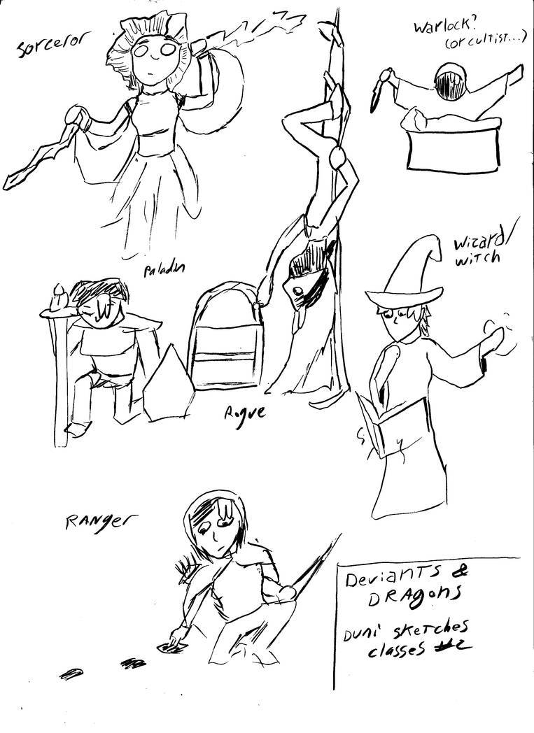 Deviants And Dragons Sketches 3: Class act 2 by mattwandcow