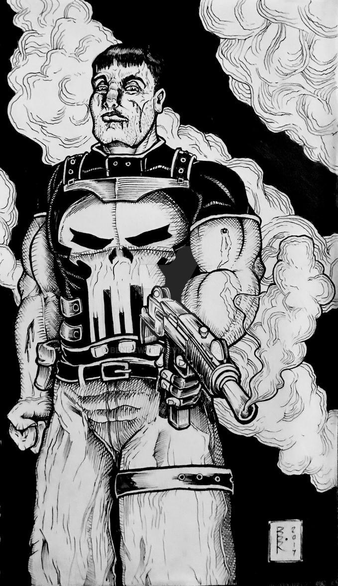 The Punisher ink sketch 12/5/17 by BenDewitt