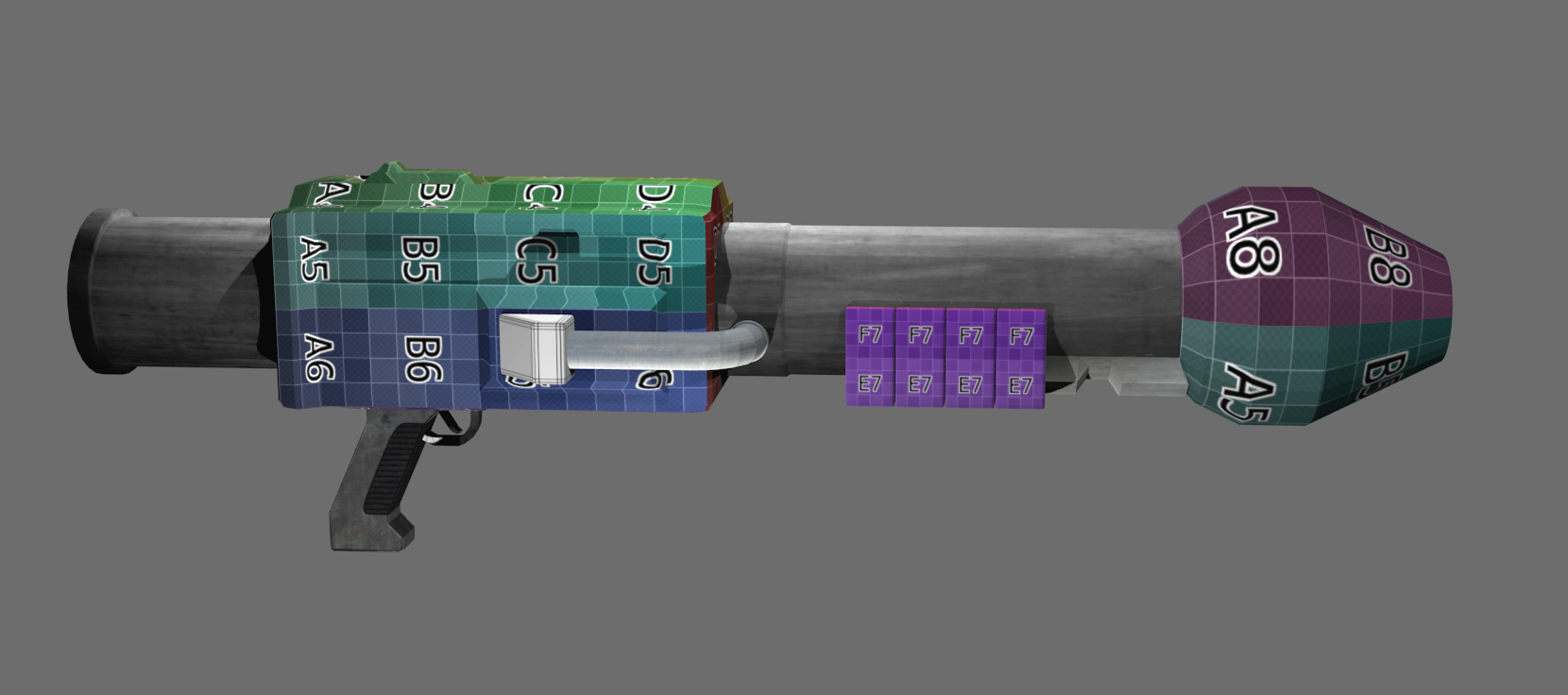 Doom Rocket Launcher 3D model textures WIP by Treeko on