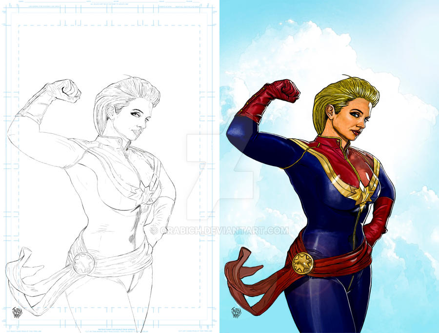 CAPTAIN MARVEL,  LAPIZ Y COLOR by orabich