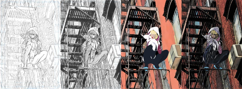 Spider- Gwen Process 2 by orabich