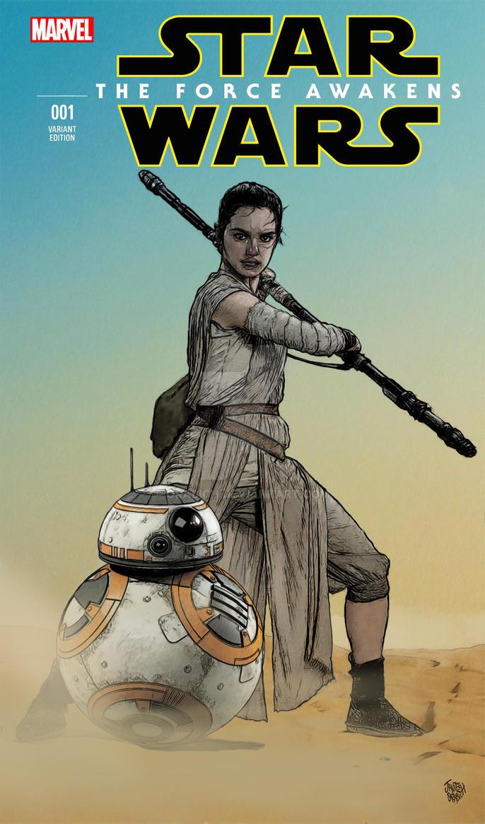 STAR WARS : REY Y BB-8. by orabich
