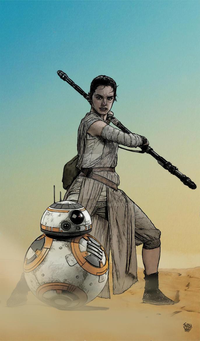 STAR WARS  REY Y BB-8. by orabich
