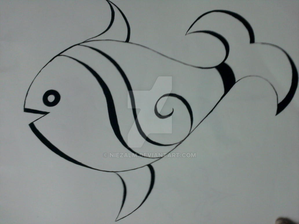Line Art Of Fish : Fish freehand by niezalm on deviantart