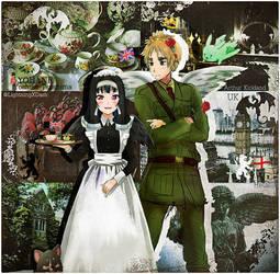 Hetalia - England x Yoshiko Tsushima (Love Live) by edline02