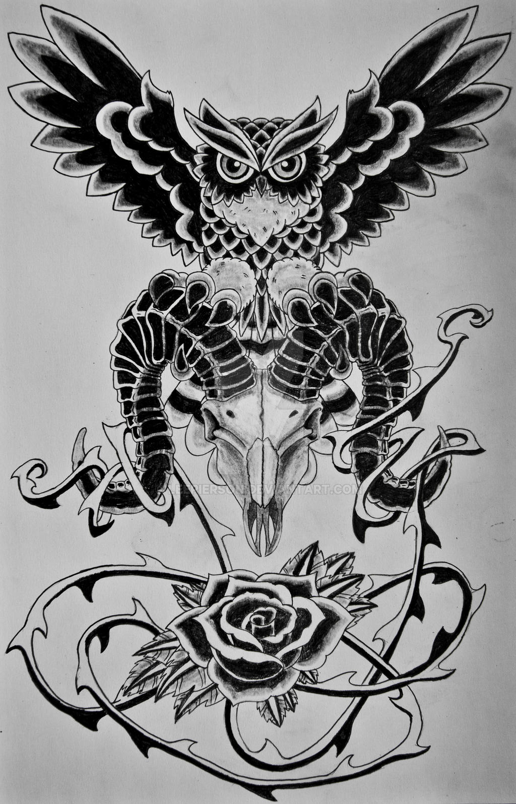 Owl Skull Rose by LeePierson on DeviantArt - photo#22