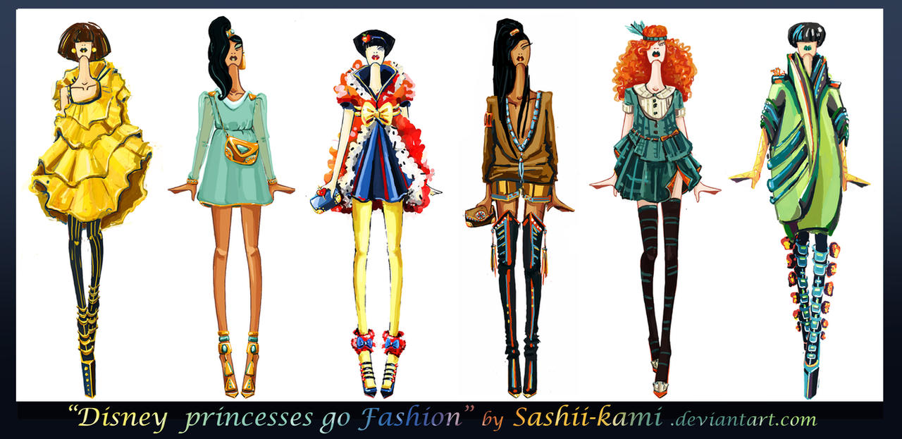 Disney princesses go fashion I by Sashiiko-Anti