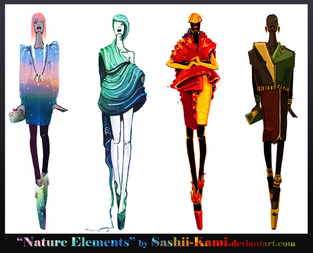 Elements Of Fashion Design : Nature elements air water fire earth by sashiiko anti