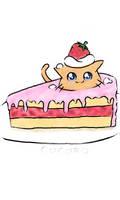 strawbery cake kitty by Iskut